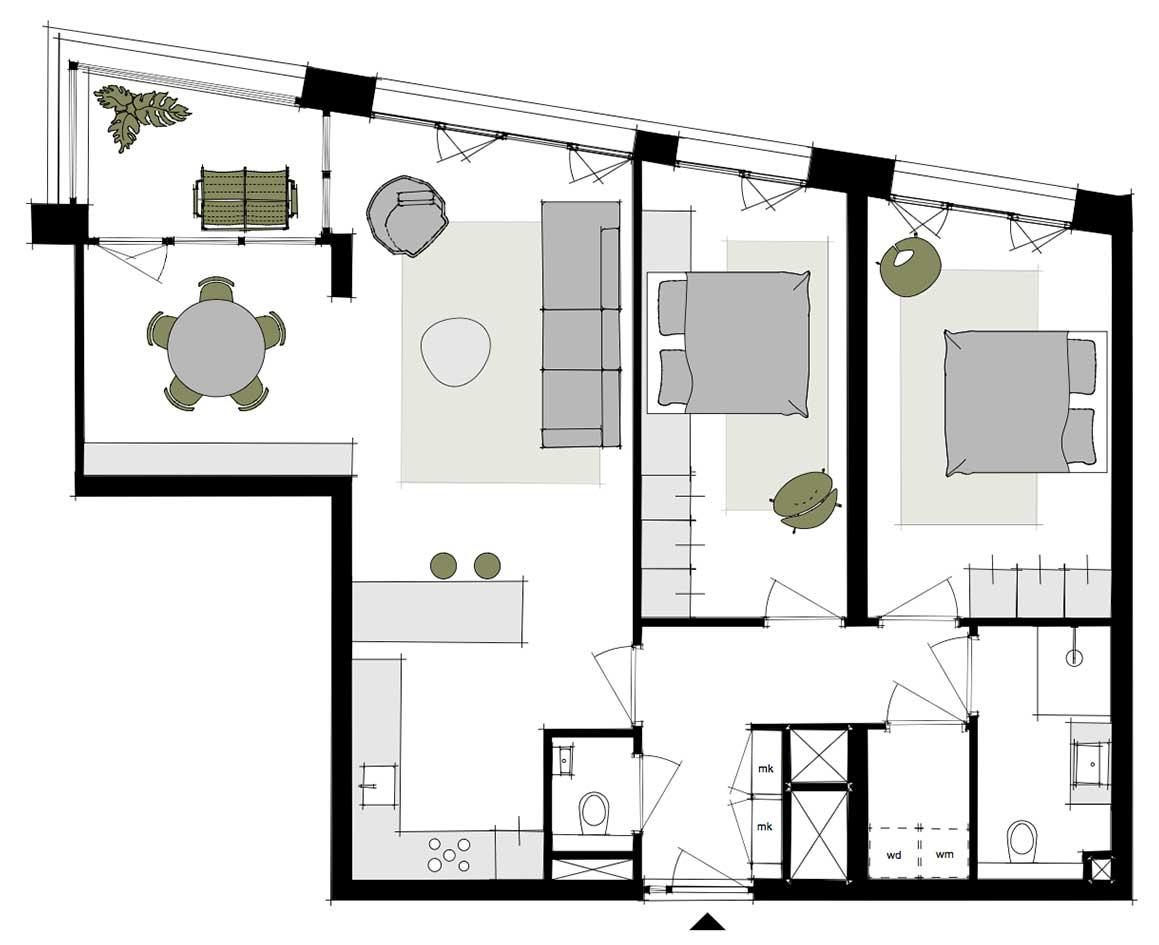 Dockside-appartementen-alkmaar-indeling-plattegrond-M-88-m2