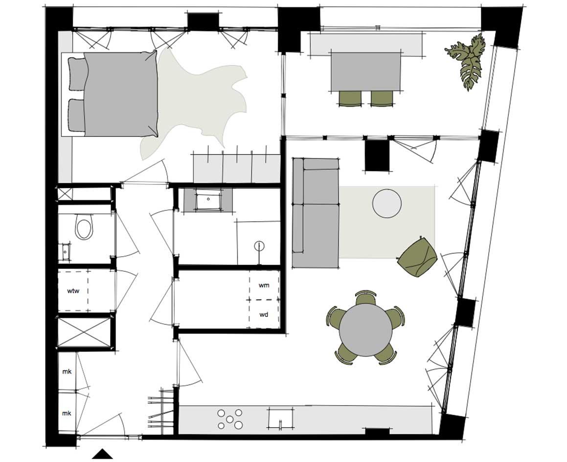 Dockside-appartementen-alkmaar-indeling-plattegrond-U-59-m2