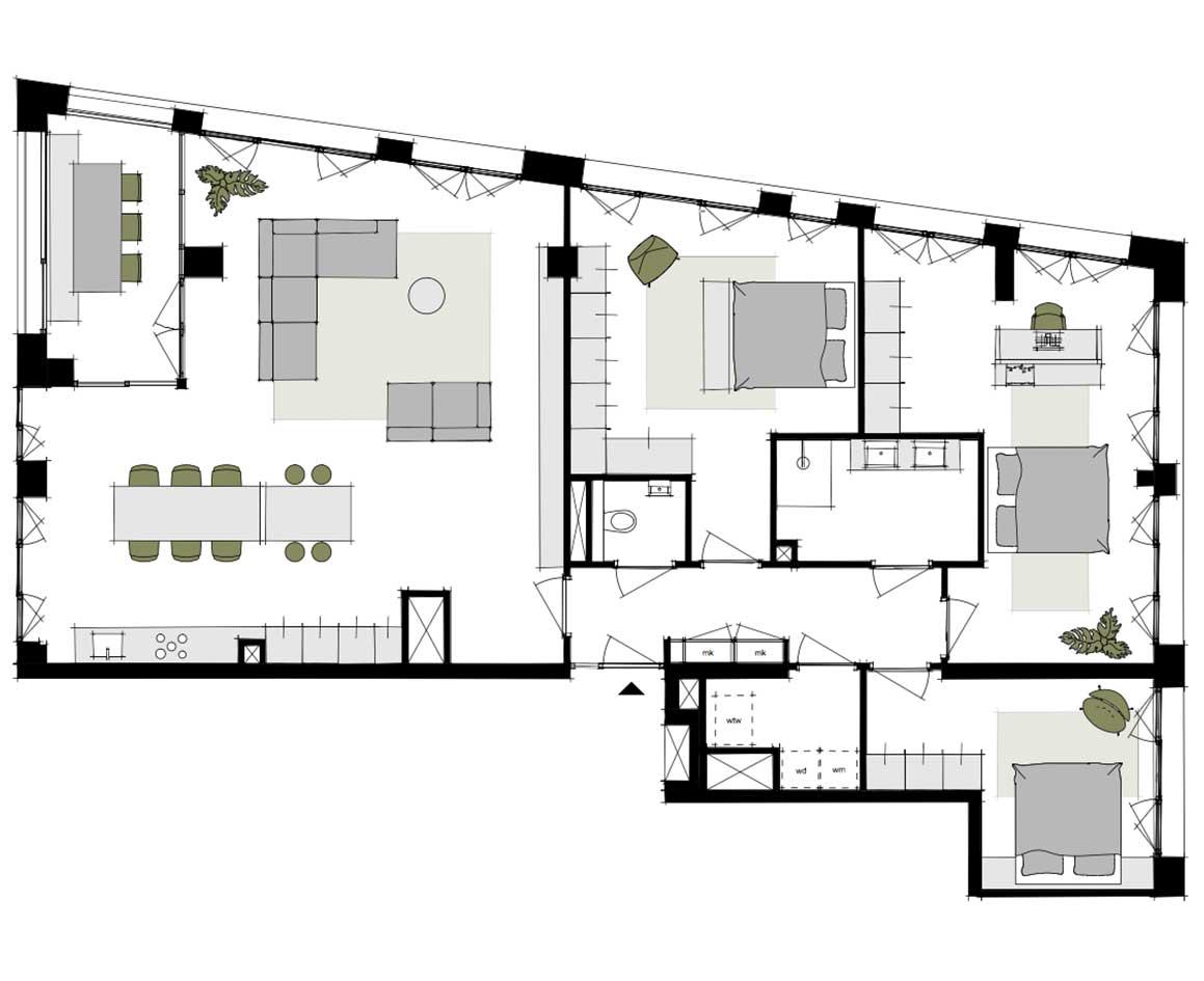 Dockside-appartementen-alkmaar-indeling-plattegrond-V-148-m2
